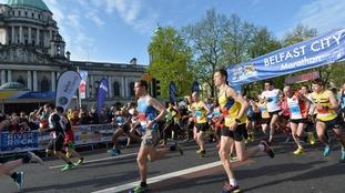 Thousands running in Belfast City Marathon
