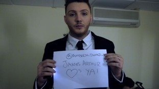 The X Factor sign from James Arthur.