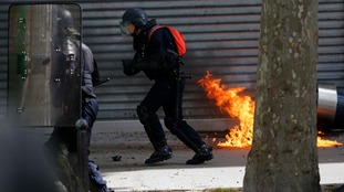 Riot officers injured after petrol bombs thrown in Paris clashes