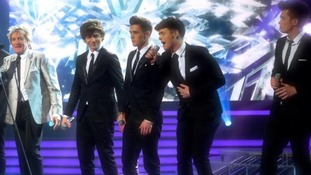 Union J perform with Rod Stewart on The X Factor semi-final show