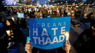 South Koreans protest against Thaad.
