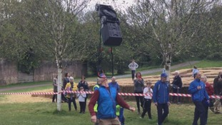 Man breaks lawnmower balancing World Record in Carmarthenshire
