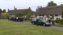 The funeral of Dominic O'Neill, one of three friends killed in a car crash in Norfolk.