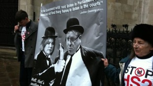 Campaigners outside High Court