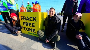 Anti-fracking campaigners block shale gas exploration site in Lancashire