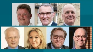 The seven candidates for Mayor of Cambridgeshire and Peterborough are Paul Bullen, Rod Cantrill and Peter Dawe (top row) with Stephen Goldspink, Julie Howell, James Palmer and Kevin Price (bottom row)