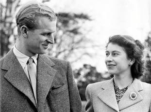 Prince Philip and the Queen during their honeymoon