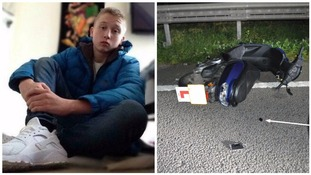 Calum Dowers and his bike after the crash