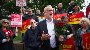 Labour leader Jeremy Corbyn with supporters in Oxford.