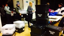 The first ballot boxes arrive at the Stevenage count in the Hertfordshire County Council election.