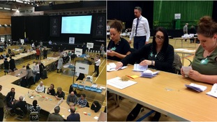 Counting is underway in Colchester (left) and Stevenage (right).