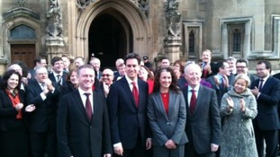Ed Miliband tweeted this picture of himself outside Westminster with the three new Labour MPs