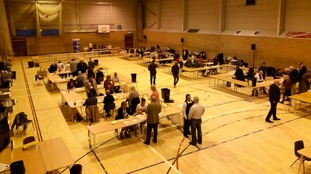 Counting for the votes in East Cambridgeshire at Soham Sports Centre.
