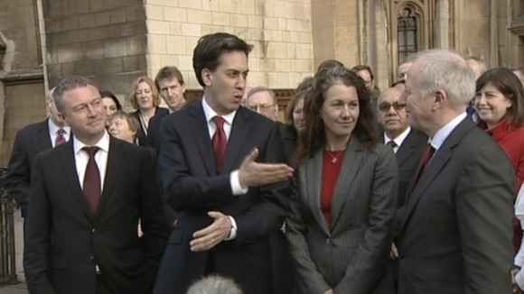Ed Miliband, was on hand to welcome new Middlesbrough MP, Andy McDonald (far right) to the Commons