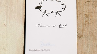 Signed doodle by Prime Minister David Cameron which is going under the hammer for charity