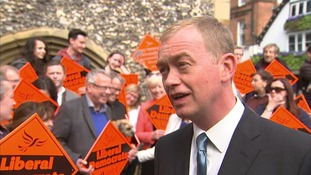Tim Farron appeared encouraged by Thursday's local election results.