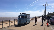 Calendar's Spill the Beans coffee van visits Cleethorpes.