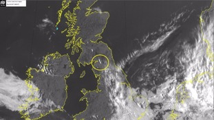 The Met Office map circles the location of the rare lenticular cloud.