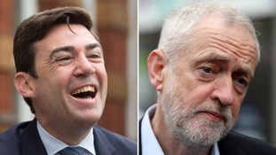 Andy Burnham (l) has been elected mayor of Greater Manchester.