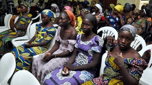 Some of the 82 Chibok girls freed by Boko Haram in an exchange deal.