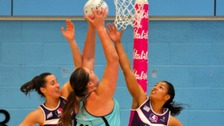 Loughborough Lightning defending against Surrey Storm.