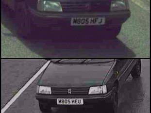 CCTV showing David Ellis' altered numberplates.
