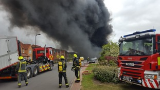 Over 40 firefighters were called to the incident, which saw around 500 tonnes of plastic on fire