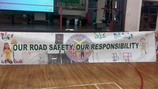 Road safety banner created from the childrens' posters