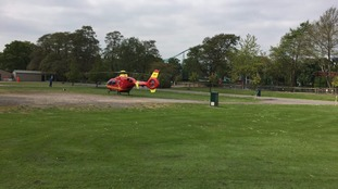 The air ambulance on the scene.