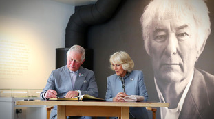 Charles and Camilla at the new Seamus Heaney centre.