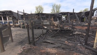 The remains of part of the school affected by fire.
