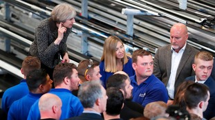 Theresa May spoke to workers in Morley