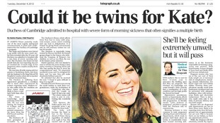 The Daily Telegraph's front page today