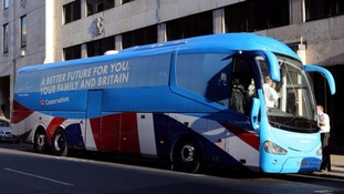 The Conservative Party battle bus from the 2015 General Election campaign.