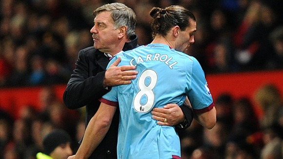 West Ham boss Sam Allardyce comforts on-loan striker Andy Carroll