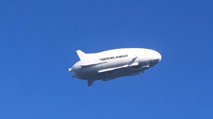 The part-plane, part-airship, took to the skies this afternoon