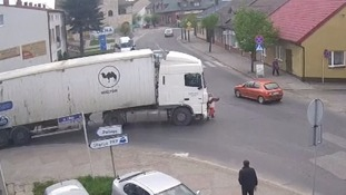 Elderly woman mowed down by lorry - but gets up and walks off