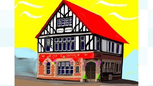 Painting of The Cow & Snuffers pub