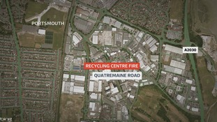 Recycling centre fire in Portsmouth