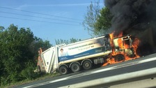 The bin lorry that caught fire on the A47 in Norfolk