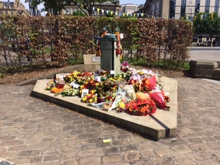 Floral tributes at the memorial in Bradford today