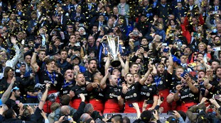 Saracens' Chris Ashton lifts the European Champions Cup trophy during the European Rugby Champions Cup Final