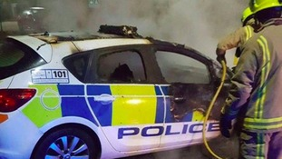 Police car set on fire in Knottingley