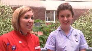 Child cancer survivor working alongside nurse who saved her