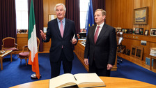EU chief negotiator on Brexit Michel Barnier Enda Kenny in the Taoiseach's office.