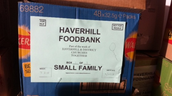 A box of food at Haverhill foodbank