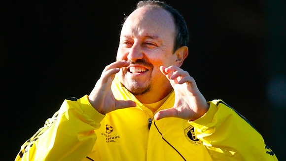 Chelsea interim boss Rafa Benitez eyes the lunch break at Tuesday training