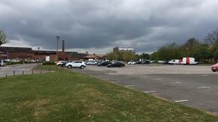 Near deserted hospital car park at Lincoln