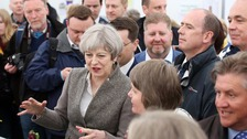 Theresa May made a short appearance at the Balmoral Show on Saturday.