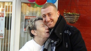 Nanny Pat with her grandson the X Factor finalist Chris Maloney